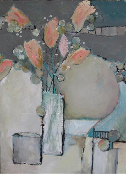 Peach Flowers On Grey by Jill Krasner