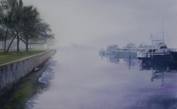 Linda A. Doll Award for Transparent Watercolor,  - Foggy Morning at the Yacht Basin by john bayalis