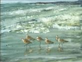 Honorable Mention Miniatures - Godwits on the Beach by Susan Weinberg-Harter