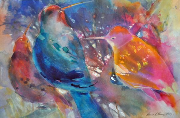 Very Painted Buntings by Elaine Harvey