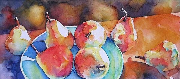 Blue Plated Pears by Susan Keith