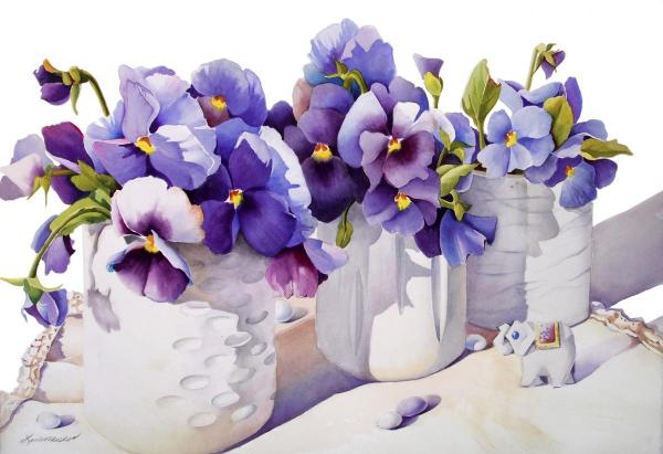 Purple on White by Linda Mullen