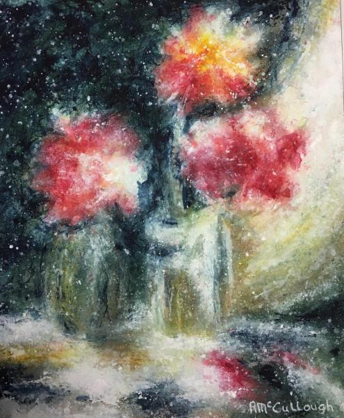 Honorable Mention Miniatures - Three Roses by Rebecca McCullough