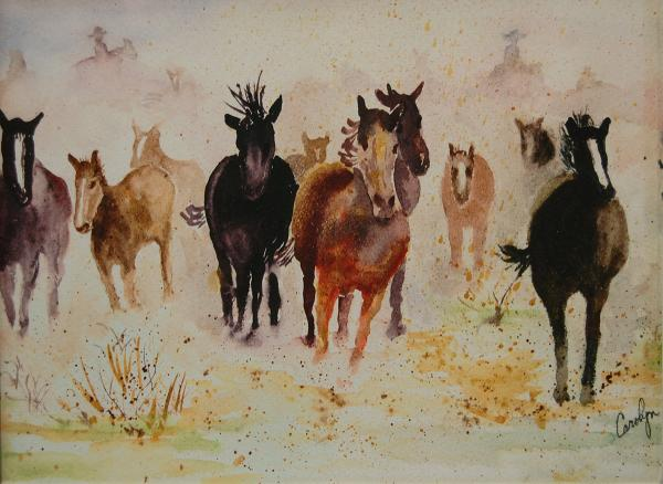 Honorable Mention Miniatures - Stampede by Carolyn Robertson