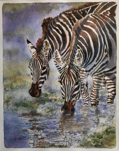Zebras at the Watering Hole by Ann Walker