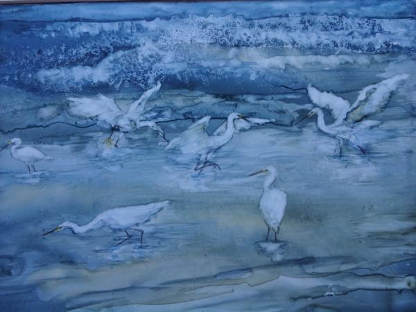 Egrets on the Beach by Susan Weinberg-Harter