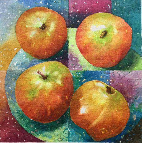 2 Apples and a Peach by Cynthia Roach