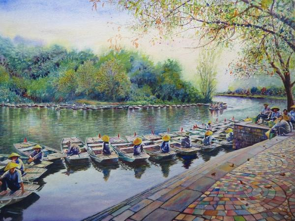 Boats Lined up in Vietnam by Keming Chen