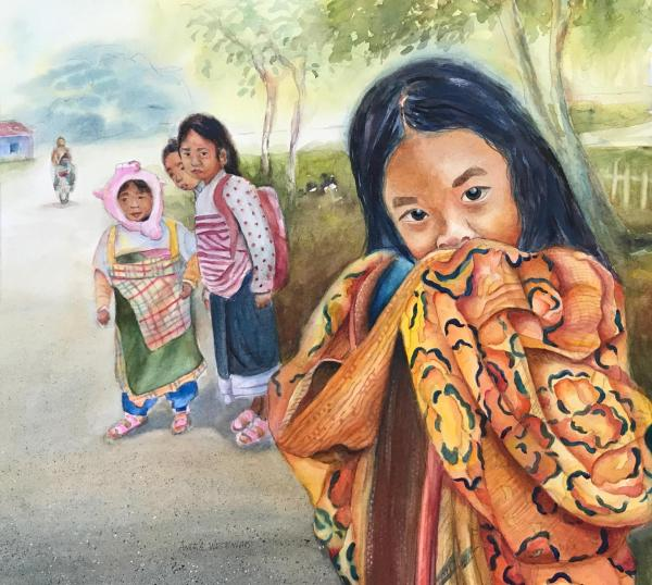 Little Girls in Laos by Angela Westengard