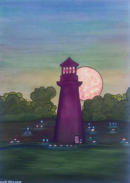 Moonrise Lighthouse by Royce Hinson