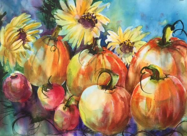 Best of Theme,  - Pumpkins and Sunflowers  by Lorri Lynch