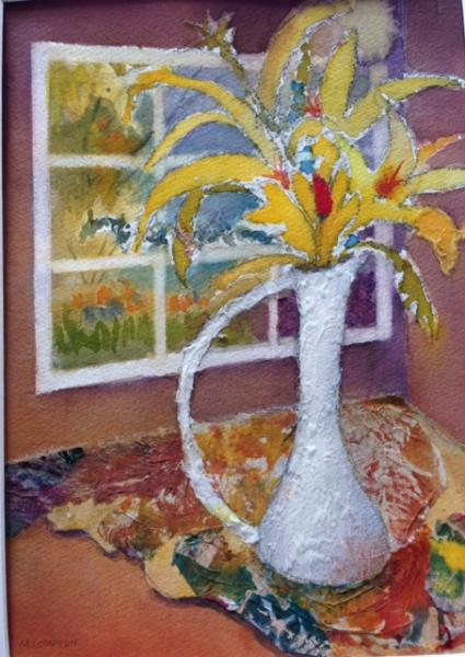 White Vase with Window by Mary Sue Compton