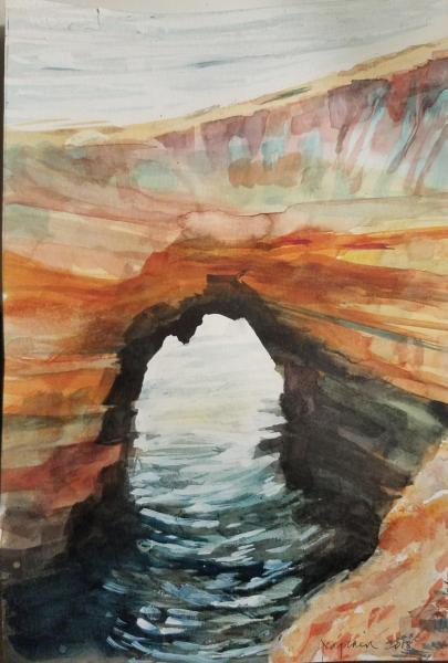 Sunset Cliffs Arch by Joan Captain