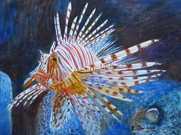 Red Lionfish by Keming Chen