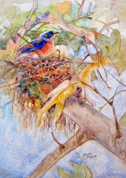 Bluebird Guarding the Nest by Bonnie Rinier
