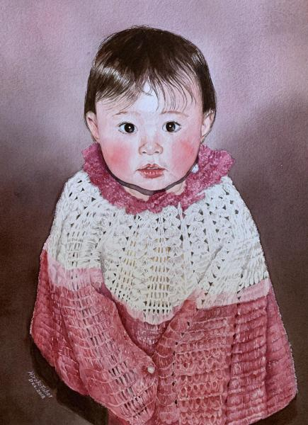 Girl in a Crochet Sweater by Hiroko Fisher