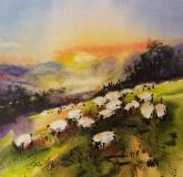 Honorable Mention Miniatures,  - Counting Sheep VI by Lorri Lynch