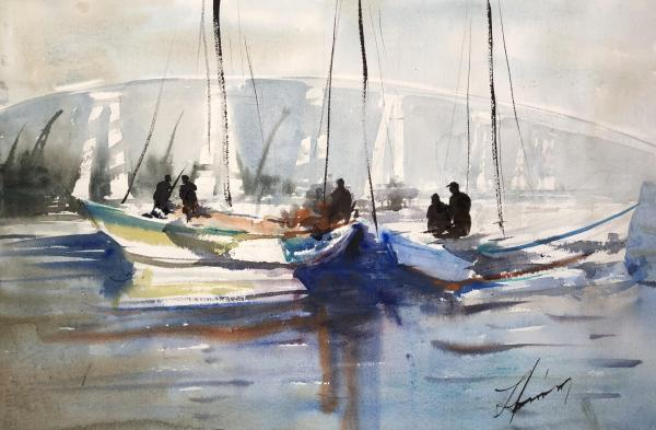 Honorable Mention,  -  Coronado Fishermen by Luis Juarez