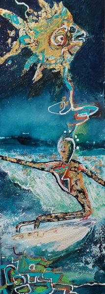 Cosmic Surfer with Pet Fish by Wanda Honeycutt