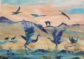 A Cool Morning with Cranes  by Susan Binford