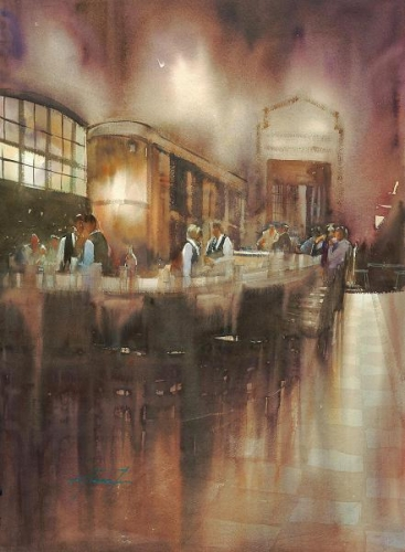 SDWS Signature Members' and Instructors' Cash Award; - Cafe Grand Central, NYC I by Keiko Tanabe