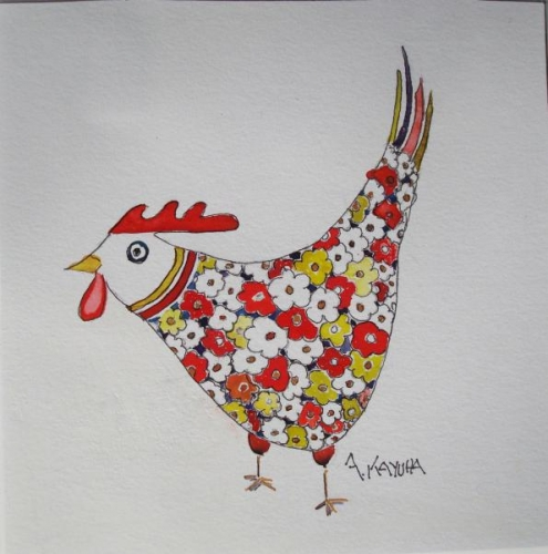 Colorful Critter:  Floral Feathered Hen by Alice Kayuha