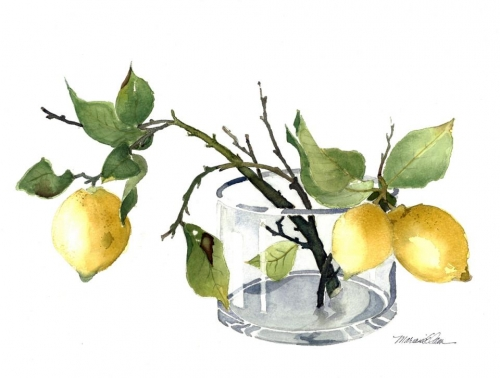 Honorable Mention - Lemons in a Vase by Marianne Elam
