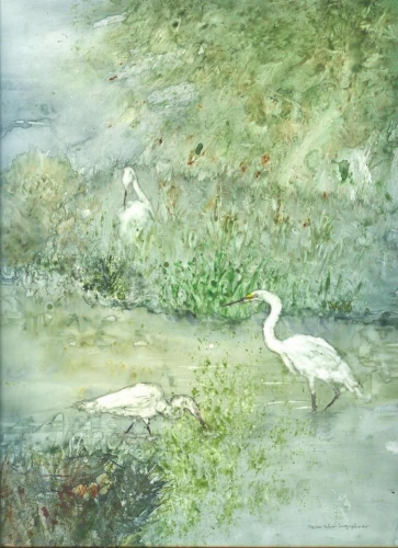 Egrets in the Reeds by Susan Weinberg-Harter