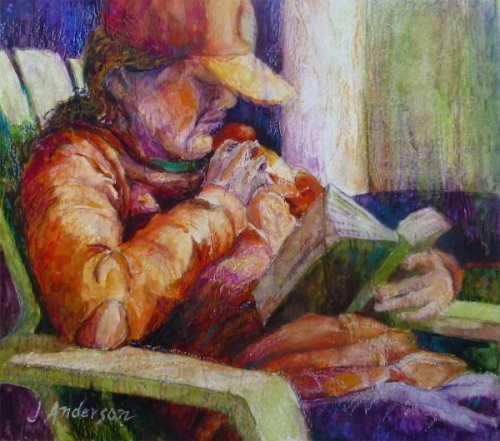 A Good Read IV, sketch by Julie Anderson