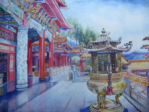 The Temple Near Sun Moon Lake by Keming Chen