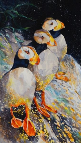 Honorable Mention - Puffins Perch by Beverly Berwick