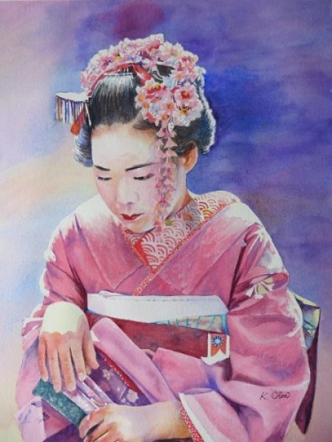 Geisha at Kyoto by Keming Chen
