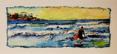 Honorable Mention Miniatures - La Jolla Surfers by Wanda Honeycutt