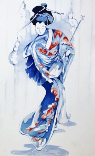 Geisha with Lute  by Beverly Berwick