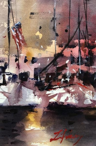 Best of Miniatures,  - Harbor Glow by Luis Juarez